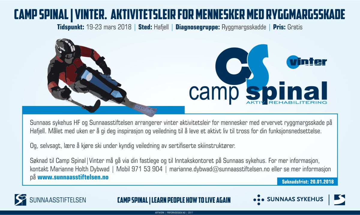 Flyer med informasjon om Camp Spinal Vinter