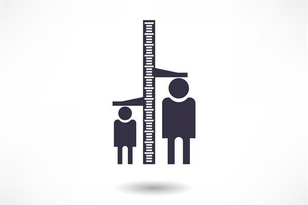 Illustrasjon av to mennesker i ulik høyde