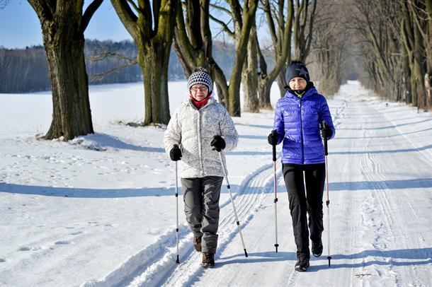 Illustarsjonsbilde, to personer som går tur med staver